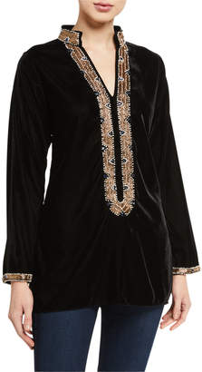 Bella Tu Loren Stone Embellished Velvet Tunic w/ Mandarin Collar