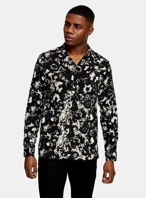 Topman Black and White Blur Floral Print Slim Shirt