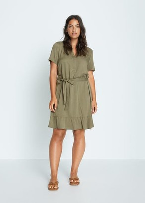 MANGO Violeta BY Short flowy dress khaki - 10 - Plus sizes