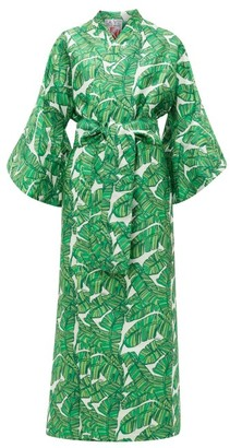La Vie Style House - No. 312 Palm Leaf-jacquard Kimono Dress - Green Print