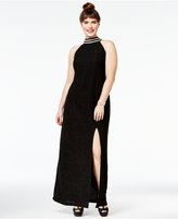 Teeze Me Juniors' Plus Size Mock-Neck Bodycon Gown