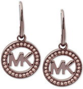 Michael Kors Ion-Plated Pavé Logo Drop Earrings