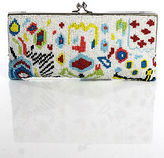 Moyna MultiColor Abstract Print Beaded Rectangular Sliver Chain Small Clutch Bag