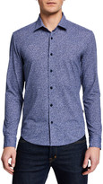 BOSS Men's Floral-Pattern Performance-Stretch Sport Shirt