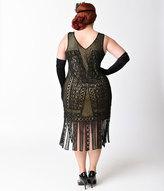 Unique Vintage Plus Size 1920s Black & Nude Beaded Lattice Wharton Flapper Dress