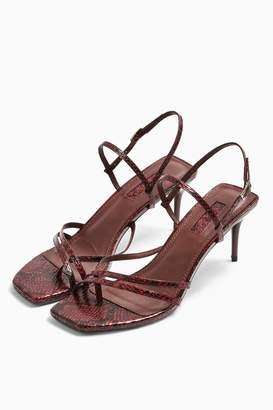 Topshop Womens Nicole Burgundy Strap Sandals - Burgundy