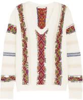 Mes Demoiselles Hanan Sequined Striped Wool-blend Sweater