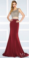 Mac Duggal Two Piece Jersey Princess Seam Beaded Prom Dress