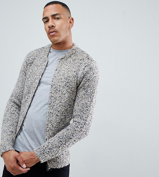 Asos Design DESIGN Tall heavyweight textured bomber jacket in oatmeal-Beige
