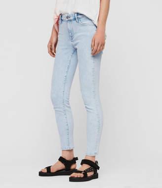 AllSaints Grace Cropped Skinny Mid-Rise Jeans, Snow Blue