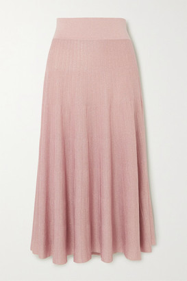CASASOLA Pleated Metallic Ribbed-knit Midi Skirt - Blush