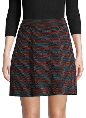 M Missoni Stretch Wool-Blend Striped Skirt