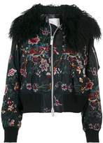 Sacai floral embroidered bomber jacket with collar