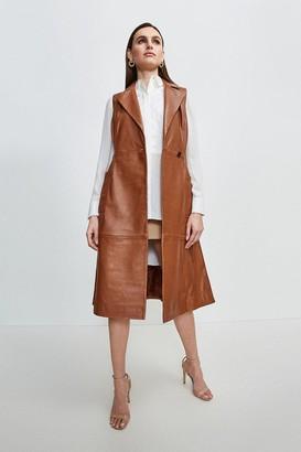 Karen Millen Sleeveless Leather Trench