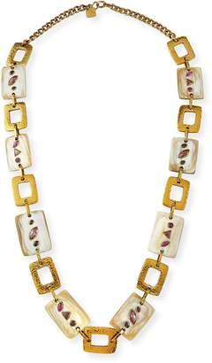 Ashley Pittman Bustani Light Horn & Red Stone Necklace