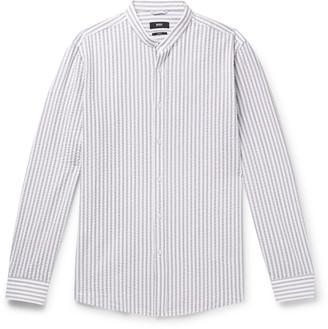 HUGO BOSS Jorris Slim-Fit Grandad-Collar Striped Cotton-Seersucker Shirt