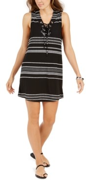 Thumbnail for your product : Dotti Dahlia Striped Lace-Up Tunic Cover-Up Women's Swimsuit