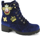 Navy Velvet Corona Ankle Boot