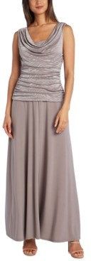 R & M Richards Petite Ruched Glitter-Embellished Gown