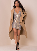 Missy Empire Shay Camel Waterfall Drape Coat