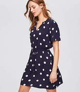 LOFT Petite Polka Dot Tie Waist Dress