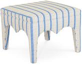 Dana Gibson Tabouret Ottoman - Blue Ticking Stripe