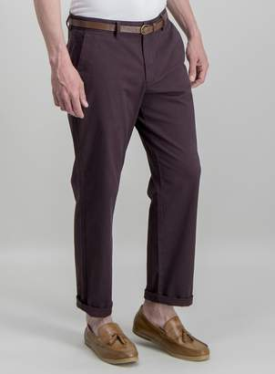 Tu Online Exclusive Burgundy Belted Straight Fit Chinos