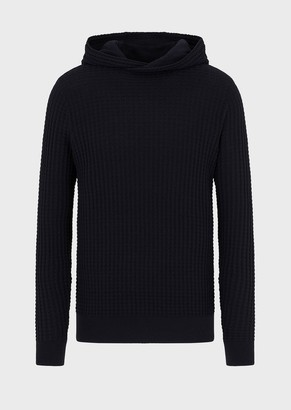 Emporio Armani Hooded Sweater In An Embossed Fabric