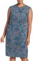 Nic+Zoe Plus Size Women's 'Broken Pottery' Twist Front Sheath Dress