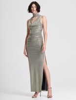 Halston Draped Neck Metallic Knit Gown
