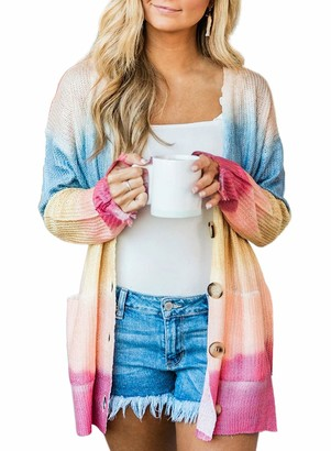 CORAFRITZ Women's Casual Tie-Dyed Knitted Pocket Button Cardigan Sweater