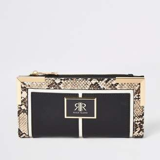 River Island Black snake embossed fold out purse