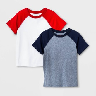 Cat & Jack Toddler Boys' 2pk Short Sleeve Baseball Raglan T-Shirt - Cat & JackTM Navy/Red