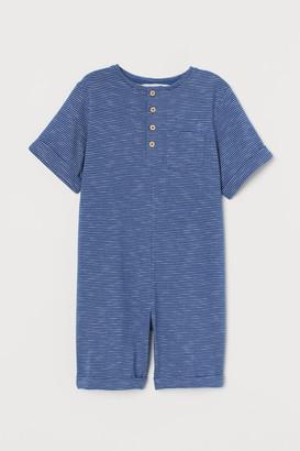 H&M Slub Jersey Romper Suit - Blue