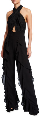 ONE33 SOCIAL Ruffle-Trim Backless Halter Jumpsuit