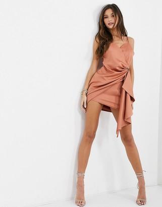 I SAW IT FIRST satin cami wrap drape mini dress in orange