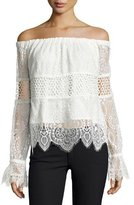 KENDALL + KYLIE Off-the-Shoulder Lace Crop Top