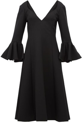 Marc Jacobs Bell-cuff Wool-crepe Midi Dress - Womens - Black