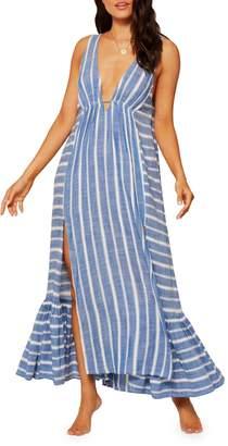 L-Space Poolside Stripe Sleeveless Coverup Dress