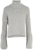 Topshop Chunky wide ribbed roll neck jumper