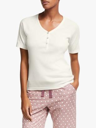 John Lewis & Partners Gigi Cotton Henley Short Sleeve Pyjama Top, Ivory