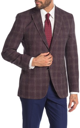 Ted Baker Jarrow Burgundy Textured Plaid Two Button Notch Lapel Wool Sport Coat