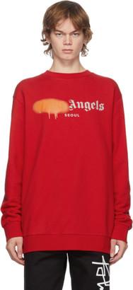 Palm Angels Red and Orange Seoul Logo Sprayed Crewneck