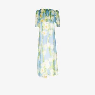 Carolina Herrera Off-The-Shoulder Ruffle Silk Evening Gown