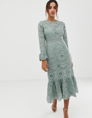 Asos Design DESIGN PREMIUM broderie maxi dress with pep hem and fluted sleeves-Green