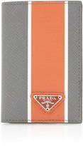 Prada Striped Textured-Leather Wallet