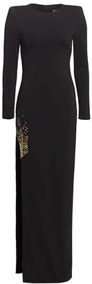 HANEY Embellished High Slit Long-Sleeve Gown