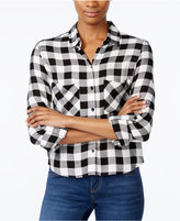 Polly & Esther Juniors' Cropped Plaid Shirt