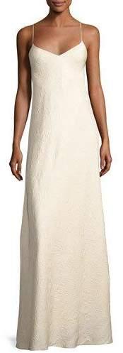 The Row Vera Cloqué V-Neck Gown, Neutral