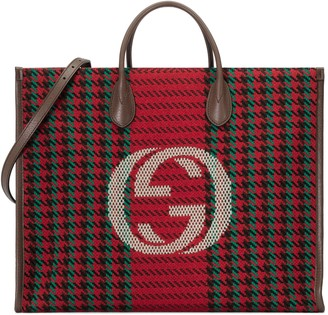 Gucci Houndstooth and stripe tote with Interlocking G